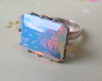 Crystal Ring, Opalite Ring, Gemstone Ring, Silver Opalite Ring, Opalite Silver Ring, Sterling Silver Ring, Opalite Jewelry, gemstone jewels