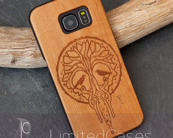 """Case for Samsung Galaxy S6 edge with cherry Edition, laser-engraved """"Yggdrasil"""""""