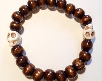 Skull wood beads