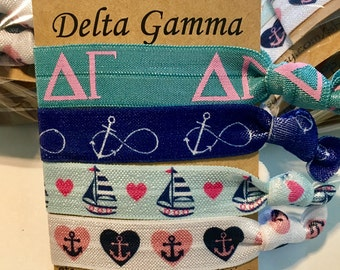 Customizable any college delta gamma elastic hair ties. FOE, party favors, sorority hair ties, delta gamma, delta gamma accessories