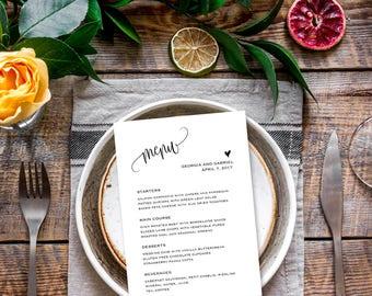 Wedding menu template, Wedding menu card template, Printable menu for wedding,  Rustic wedding menu cards 5x7, Dinner menu, Editable PDF