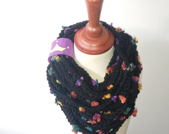 Infinity knitted spaghetti scarf, Knit scarf, Claire knit scarf, Oversized scarf, Tule scarf