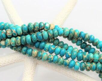 Turquoise Blue Impression Jasper, Aqua Terra Jasper Rondelle Beads 8mm x 5mm, Full or Half Strand