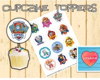 "Paw patrol printables 2 "" circles  cupcake toppers stickers"