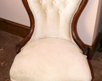 Victorian Carved Walnut framed nursing chair