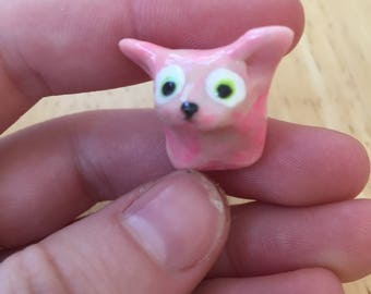 Tiny little pink kitten -- handmade little critter -- gift for mom -- pocket buddy