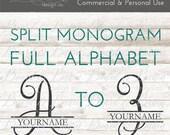 Split Monogram SVG - Split Letter SVG - Calligraphy Monogram SVG - Split Initial svg - Split Font svg - Script svg - Commercial Use svg