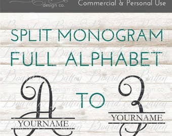 Split Monogram SVG - Split Letter SVG - Calligraphy Monogram SVG - Split Initial svg - Split Font svg - Script svg - Commercial Use svg