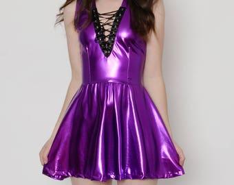 Purple Vinyl Lace Up Dress