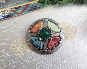 Vintage Scottish Brooch - Vintage Brooch - Scottish Gift - Miracle Brooch - Faux Agate Brooch - Pewter Brooch - Multi Coloured Brooch