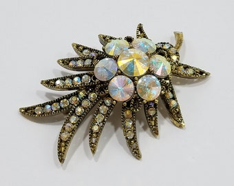 Brilliant Eye Catching Brooch with Antique Gold, Rhinestones, and AB