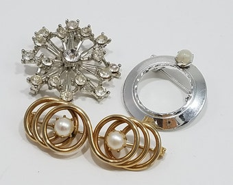 Darling Set of Three Petite Pins with Rhinestones and Faux Pearls