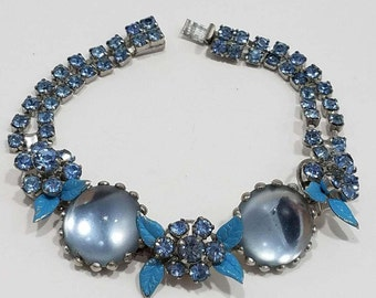 Absolutely Gorgeous Weiss Rhinestone Bracelet with Moonstone Cabochons and Enameled Leaves