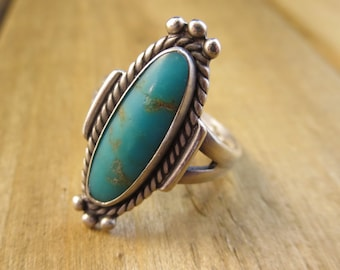 Turquoise Ring Vintage 925 Sterling Silver Size 7 Southwest Navajo Style