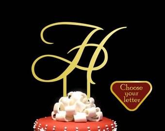 Letter H cake topper, Gold Monogram Cake Topper, Initial Wedding Cake Topper, Gold Cake Topper Letter,  Gold Cake Topper h, CT#039