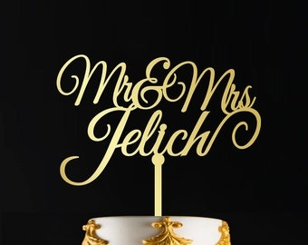 Surname Cake Topper, Custom Wedding Cake Topper, Personalized Cake Toppers, Mr and Mrs Cake Topper Gold, Gold Cake Topper, CT#058