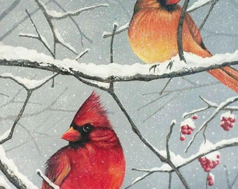 Cardinal Painting / Bird Painting / Winter Painting / Wildlife Painting / Original Painting / Wildlife Art / 11 x 14