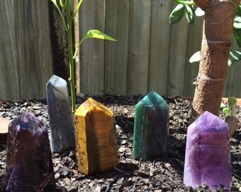 CRYSTAL OBELISKS - Amethyst - Tiger eye - Aventurine - mystery stone -  towers - Channeling crystals