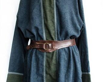 Heathered Woolleen Tunic with Hood Blue/Green