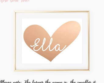 Nursery Name Sign / Custom Nursery Art / Nursery Wall Art / Heart Print / Rose Gold Nursery / Personalized Nursery / Custom Nursery Decor