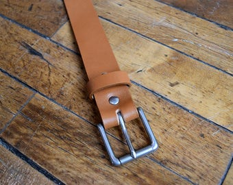Classic Men's Leather Belt (Tan). Handmade in the USA. Silver Plated Brass Buckle. Full Grain, Veg Tanned Leather, Free Personalization.