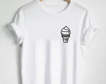 Cone Ice Cream Shirt - Ice Cream Tshirt - Unisex Shirt or Womans Tshirt Mens Gift Dessert Cute Melting Milk Cow V neck Option Swirl Carnival
