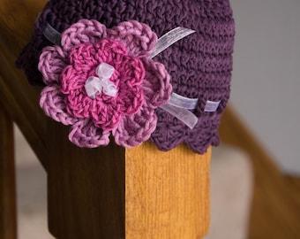 Purple Flower Hat - Newborn || infant || Baby || Spring hat || Summer hat ||Pink Flower