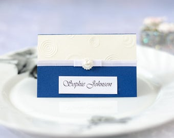Blue Navy Place Card - Handmade Layered Card - Embossed Place Card - Place Card with Ribbon - Bead Card - Personalised Place Card With Name