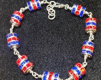 "KU Crimson and Blue 8"" Bead Bracelet"