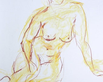 Nude drawing from original pastel chalk sketch, female nude, body drawing, nude in the Studio, sexy pose