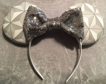 Spaceship Earth Epcot Mickey or Minnie Ears! Perfect to wear at Epcot! Handmade Sewn & Stuffed- Fits Child to Adult
