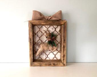 Shadow Box - Christmas Deer - Reclaimed Barn Wood