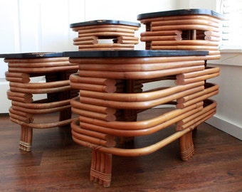 Pair of  Paul Frankl Style Stacked Rattan Art Deco Two-Tiered Side Tables
