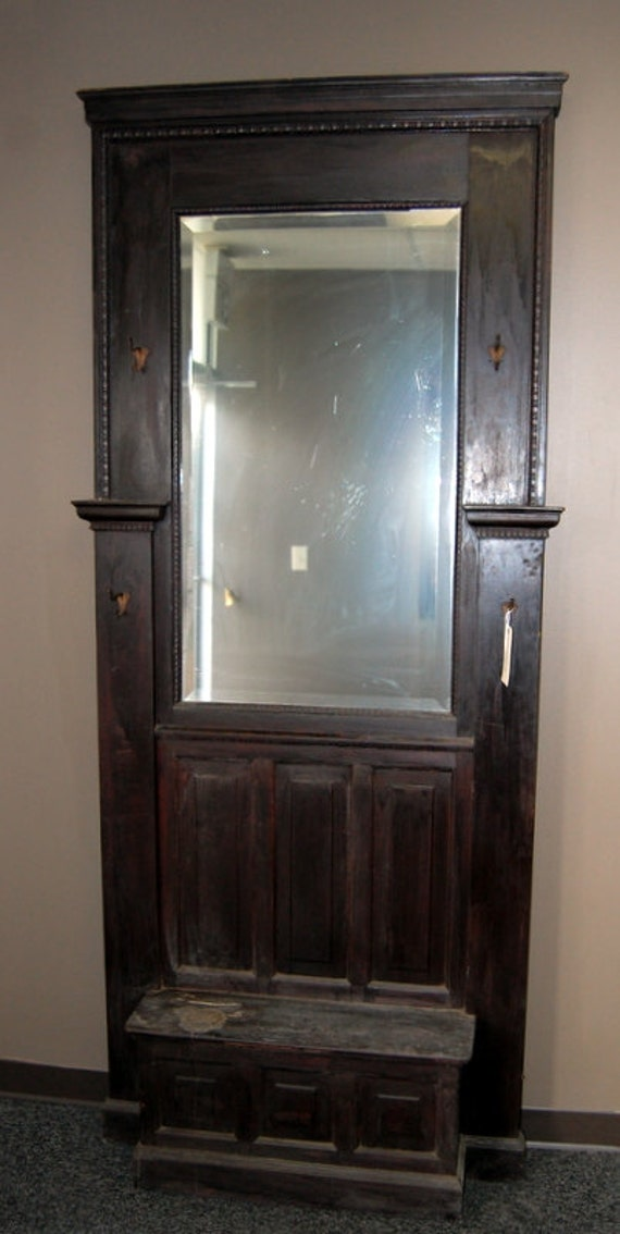 Antique 1900s Egg Amp Dart Pine Hall Tree With Beveled Mirror