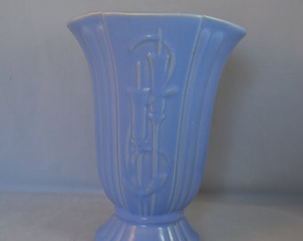 Vintage Large Blue Pottery Vase, Marked USA, McCoy-like, Tulip