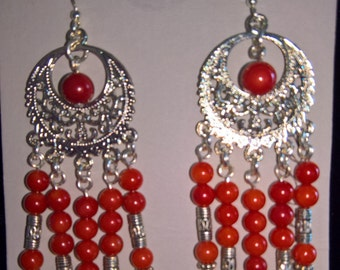 Woo-Hoo RED! chandelier, native american accents