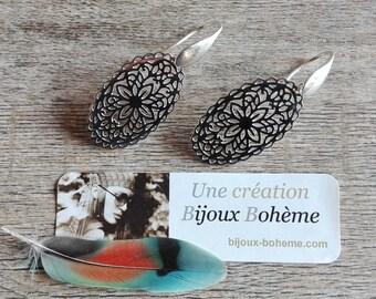 Earrings dangling oval openwork 925 Silver, Bohemian chic, handmade, handmade, silver earrings