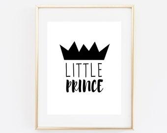 Little Prince Printable Black and White Nursery Wall Art Boy Nursery Decor Prince Crown Baby Boy Nursery Boy Room Decor Baby Shower Sign
