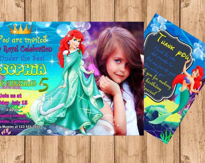 FREE THANK YOU card Little Mermaid invitation mermaid invitations disney invitations disney mermaid invite mermaid invites printable invite