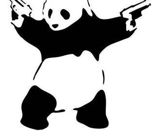 Banksy Gun Tooting Panda Inspired Removable Wall Decal,  Graffiti home decor, Interior Design, Bedroom,Hall, Wall Sticker Wall Art Boys Room
