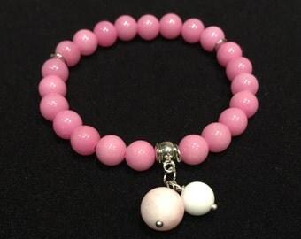 Pink Natural Stone Bead Bracelet