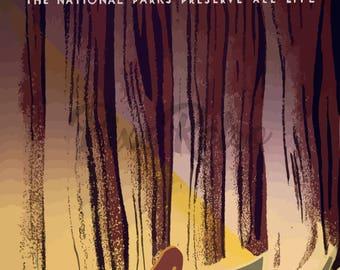 Vintage Digital Download Wildlife Deer National Parks Preserve all Life PDF JPEG PNG 300 dpi Printable Wall Art Poster for home decor