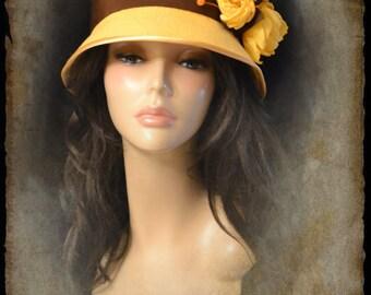 Cloche Autumn Melody /Cloche / Cloche hat / 20's style / Cloche yellow / yellow / autumn / Yellow Hat