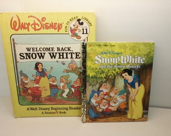 2 Snow White Books including Walt Disney's Snow White and the Seven Dwarfs Little Golden Book and Welcome Back, Snow White Beginning Reader