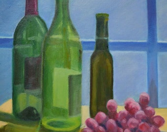 WINE BOTTLES and GRAPES in brilliant natural light 10 x 8 in original oil painting by Sharon Weiss