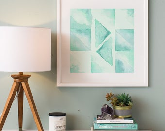 abstract watercolor downloadable print geometric painting printable art watercolour afford wall art - Cheap Wall Decor