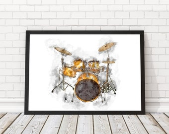 Drums poster watercolor, Drum set art, Drum wall poster, Musician Gift, Music Decor, Music poster,PRINTABLE poster,Musical Instrument, Drums