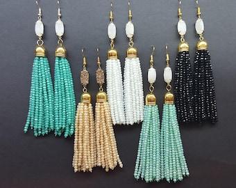Sparkly Druzy Tassel Earrings