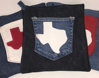 Black Denim Pot Holder with Pocket and Texas themed - FREE SHIPPING!