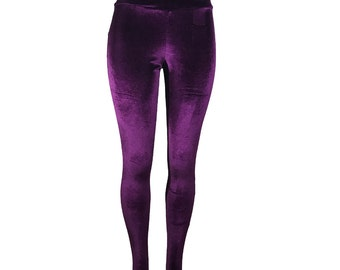 Purple Velvet Stirrup Leggings Pants - Yoga, Rave, Festival, EDM, 80s Clothing - High Waisted